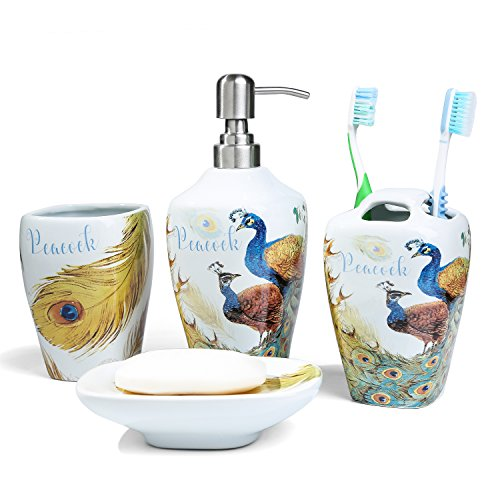 FORLONG FL3011 Ceramic Bathroom Accessories Set of 4:1 Gargle Cups,1 Toothbrush Holders,1 Soap Dishes,1 Soap Dispenser(Peacock)
