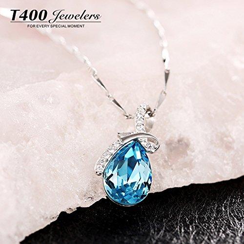 『T400ジュエリー レディースネックレス シルバー925 青い クリスタル 雫モチーフネックレス プレゼント(チャェン:40+5CM))』の4枚目の画像