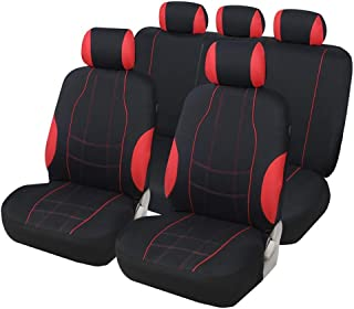 ZGYQGOO Classic Car Seat Covers Set Automobile Protector Styling Washable Airbag Compatible for Cars Vans and MPVs Red & Black