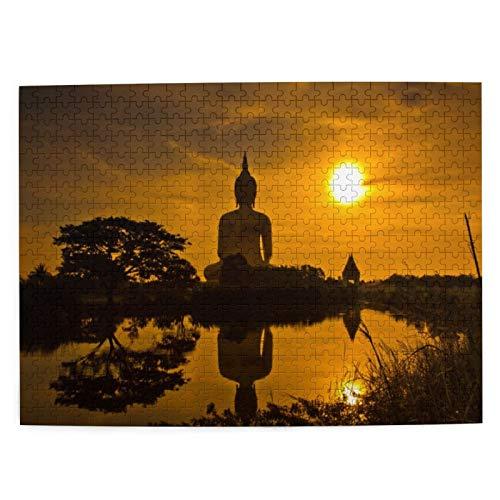 MAYUES Rompecabezas Puzzle 500 Piezas Gran Estatua Gigante Junto al río al Atardecer Escena de la Cultura asiática tailandesa Yin Yang Inteligencia Jigsaw Puzzles para Adultos Niños Juegos