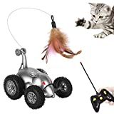 Lukovee Remote Cat Toy, Mouse Shape Feather Interactive Moving Automatic Robotic Rat Sound Chaser Prank Car for Kitten Stimulate Cat Hunting Instincts Funny Gifts for Pet (No Battery Included) (Grey)