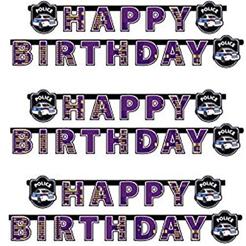 amscan 1 Happy Birthday Banner * Polizei * für Mottoparty und Geburtstag // Kindergeburtstag Party Kette Banner Police Cops SWAT