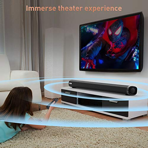 Sound Bar, TOPVISION 36-Inch Sound Bars for TV, 2.1CH Sound Bar with Built-in Subwoofer, 3D Surround Sound TV Speaker…