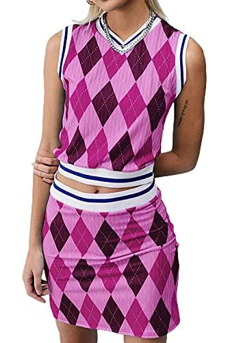 FASBB Y2k - Camisola de punto sin mangas para mujer, 2 piezas, corte superior, cuello halter, teñido anudado, conjuntos de verano