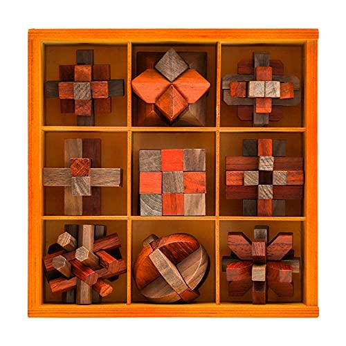 子供と大人のためのVamJimパズルゲーム頭の体操9ピース木製パズル大人のパズルゲーム大人のIQ、思考と論理のパズルゲーム
