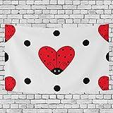 JONINOT Ladybug Ladybird Icon Set Tapiz de Dormitorio Colgante de Pared Exclusivo Colgantes de Fondo Multiusos para Sala de Estar, Entrada y Cocina. 60x40 Pulgadas