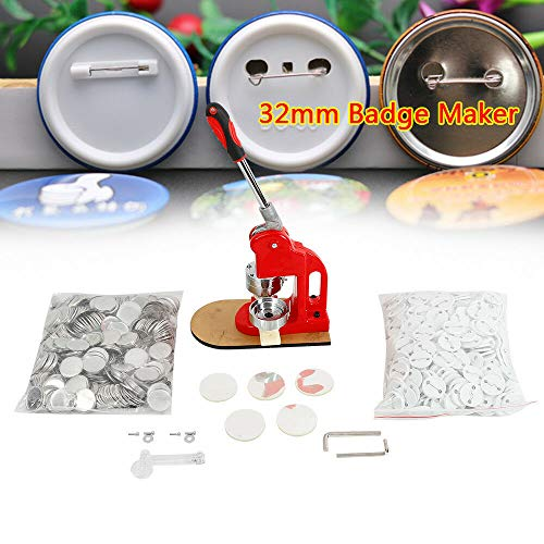RANZIX Micro Buttonmaschine mit 500 Zubehörteilen & Kreisschneider - austauschbarer Stempel in Größe 32mm, Knopfmacher Maschine Badge Press Machine