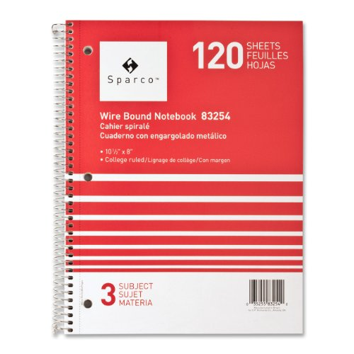 Notebooks, 3 Subject, 10-1/2 x 8 Inches, College Ruled, 120 Sheet, Assorted