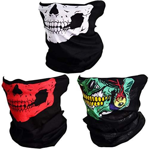 CASKIE Half Skull Face Mask - Motorcycle Sun UV Protection Breathable Bandana Balaclava Headwear, 3 Pack