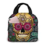Portable Lunch Tote Bag Cute Dead Sugar Skull Picture Lunch Bag Insulated Cooler Thermal Reusable Bag Lunch Box Handbag Bags for Women/Picnic/Boating/Beach/Fishing/Work