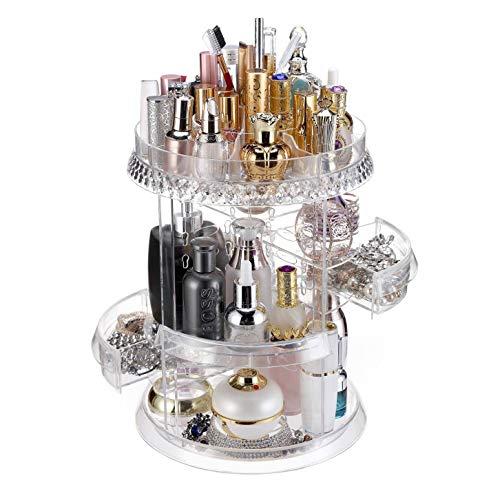 Makeup Organizer, Acrylic 360 Degree Rotating Carousel Adjustable Cosmetic Storage Display Case with Two Drawers Large Spinning Holder Storage Rack Fits Creams, Makeup Brushes, Lipsticks, Toner