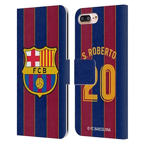 Head Case Designs Licenciado Oficialmente FC Barcelona Sergi Roberto 2020/21 Players Home Kit Group 2 Carcasa de Cuero Tipo Libro Compatible con Apple iPhone 7 Plus/iPhone 8 Plus
