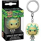 Space Suit Rick: Funk o Pocket Pop! Mini-Figural Keychain & 1 Cartoon Themed Trading Card Bundle (45419)