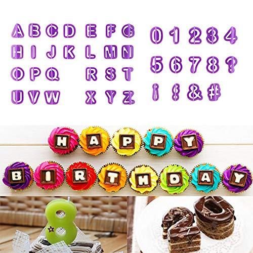 zhcoy 40pcs Alphabet Number Letter Fondant Cake Decorating Set Icing Cutter Mold Mould
