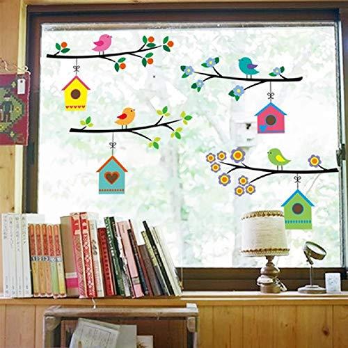 WandSticker4U- Familia pájaro en una rama de flores | Pajarera pájaros flores Casita | pared pegatinas adhesivo para salón dormitorio Ventana decorativa