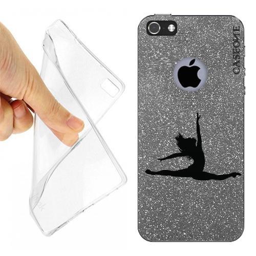 Custodia Cover Case Ballerina Danza Classica per iPhone 5 Grey Dark Glitter