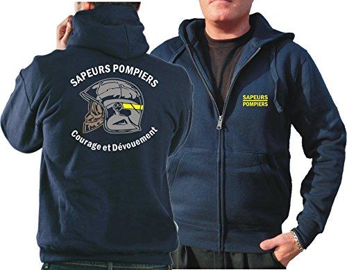 feuer1 Sweat à capuche (Navy/Bleu Marine) Sapeurs Pompiers Casque - Courage et Dévouement - Marque Jaune XL bleu marine