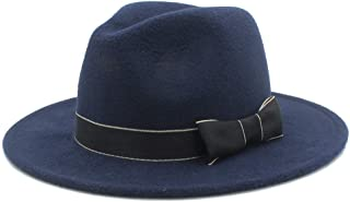 SHENTIANWEI Men Women Winter Fedora Hat with Bowknot Pop Panama Church Fascinator Hat Casual Wild Jazz Hat Size 56-58CM