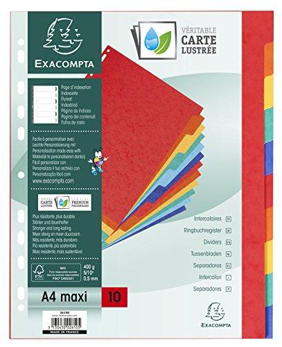 Exacompta - Réf. 2610E - Paquet de 10 Intercalaires à Onglets Plastifiés Couleurs - Format A4 Maxi - Carte Lustrée 400g/m² - Couleurs Assorties