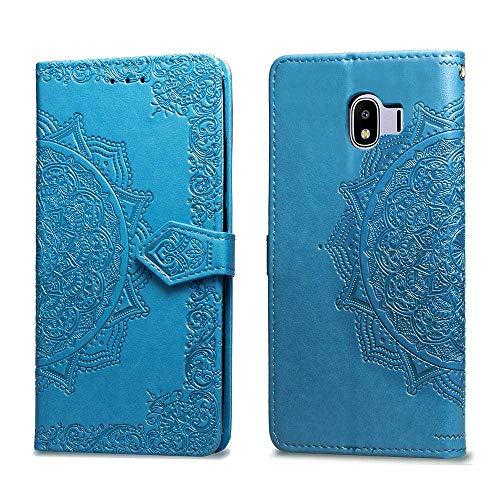 Bear Village Hülle für Galaxy J4 2018, PU Lederhülle Handyhülle für Samsung Galaxy J4 2018, Brieftasche Kratzfestes Magnet Handytasche mit Kartenfach, Blau
