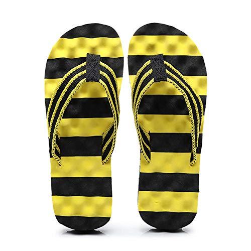 Sandalias de Dedo Cómodas para Hombres Chanclas,Zuecos de mujer hombre,Summer Color Matching Beach Zapatos Zapatillas Palabras humanas Arrastra, Noche de alquiler de ropa interior-Amarillo negro_43