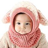 Exing - Bufanda de punto de invierno para bebé, diseño de patchwork con capucha, color rosa