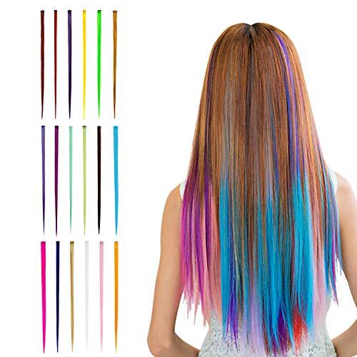 Beautyshow Bunte Haarteile 18 pcs, Haarverlängerungen mit Clips, 55cm/21.6 zoll Regenbogen Perücke Salon Highlight Synthetisch Haarteile Clip für Kinder Mädchen Frauen Cosplay Party Mode (Gerade)
