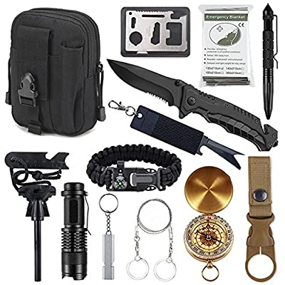 Tianers Survival Gear Kit 11 in 1, Professional Outdoor Emergency Survival Tool with Military Compass, Survival Knife, Saber Card, Fire Starter, Whistle, Tactical Pen for Travel Hike Field Camp by Tianers