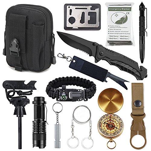 Tianer Kits de Supervivencia de Emergencia 11 en 1, Herramientas de Supervivencia Profesional Kit de...