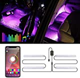 Car Interior LED Lights - VIDEN Car Strip LED Lights with APP Controlled, Waterproof with 4pcs 48 LEDs, Multi Colour Music Sound-activated Car Lighting, USB Port Car Charger Light Bar, DC 5V