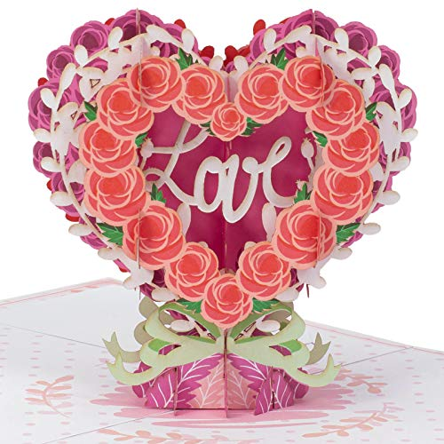 Paper Love Floral Heart Love Valentines Day Pop Up Card, 3D Popup Greeting Cards for Valentines Day, Mothers Day, Wedding, Anniversary, Love Romance Thank You, Thinking of You, All Occasion | 5' x 7'