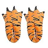 1pair Kreative Tiertatzen-Slippers Stofftier Schuhe weicher Plüsch Klaue Hauspantoffeln Tierhausschuhe für Erwachsene Größe 40~44, Tiger