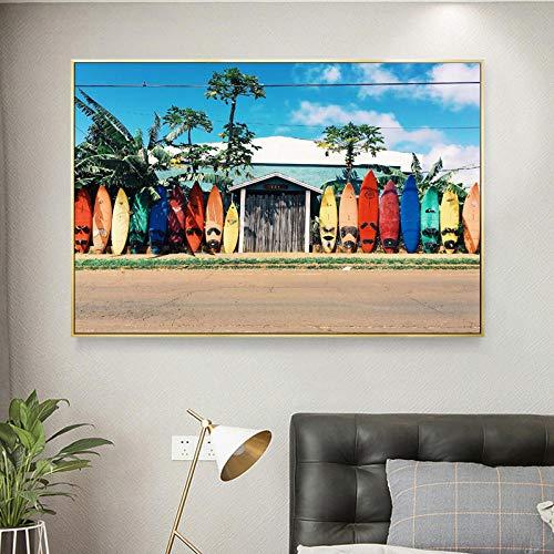 Carteles e impresiones de la playa de la tabla de surf Imágenes Pintura de la lona Arte de la pared para la decoración de la sala de estar PaisajeDecoraciones de pared modernas - 40x60cm Sin marco