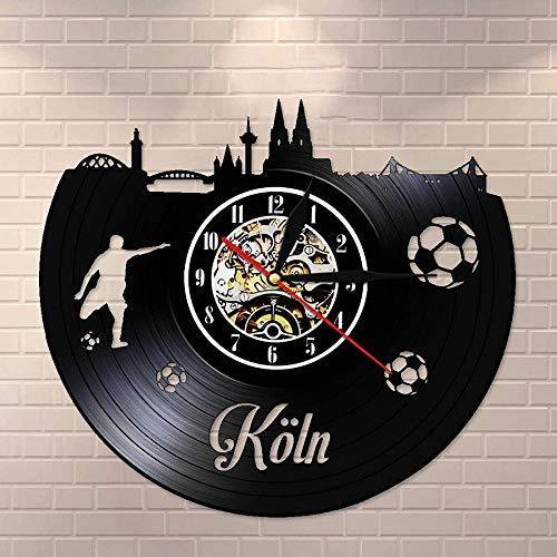 ZYBBYW Reloj de Pared con Paisaje Urbano de Colonia Silent No Tick Alemania Regalo de Viaje Skyline Reloj de Pared con Registro de Vinilo Vintage