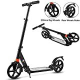 Aceshin Scooter for Adults/Teens/Kids, 200mm Big Wheels Scooter Easy Folding Lightweight Height Adjustable Rear Fender Brake Scooter Support 220lbs (Black)