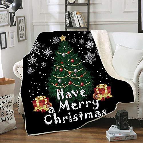 Womdee Navidad Manta De Franela, Xmas Fluffy Thick Soft Large Sherpa Throw Blanket, Winter Santa Sleigh Snowflake...