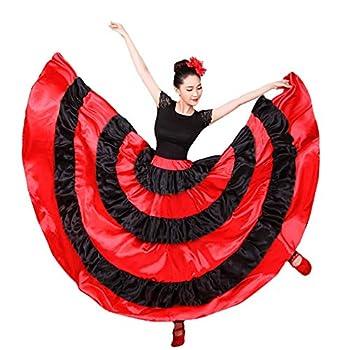 Womens Spanish Bull Dance Skirt Belly Dance Skirt Big Swing Flamenco Costume  360 Degree Red
