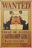 海賊アニメBARTHOLOMEW KUMAバルトロマイクマ さびた錫のサインヴィンテージアルミニウムプラークアートポスター装飾面白い鉄の絵の個性安全標識警告バースクールカフェガレージの寝室に適しています