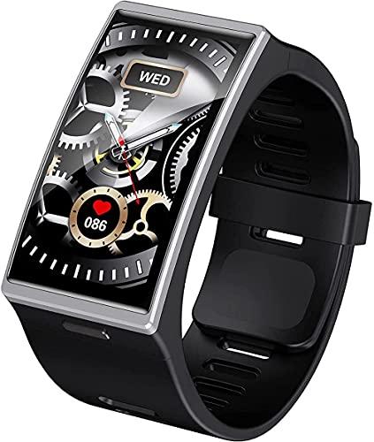 YLB - Reloj inteligente para hombre 1 91 con monitor de ritmo cardíaco, presión arterial IP68, impermeable, monitor de sueño, pulsera inteligente para iOS Android (color: gris)