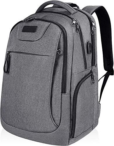Mochila para ordenador portátil de 15,6 a 17,3 pulgadas, mochila de viaje, impermeable, impermeable, con puerto de carga USB para viajes, negocios, universidad, mujeres, hombres, gris multivías
