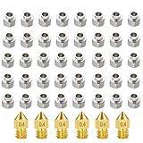 Xumier 46pcs Dado eccentrico stampante 3d Dado V Inossidabile Foro 5mm Parti della Stampante 3D V Ruota eccentrica Colonna Isolamento Vite scanalatura + MK8 Estrusore Ottone Ugello