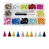 200 Sets bunte Leder-Spikes, 10 mm, Punk, Bullet-Metallnieten, zum Anschrauben, für Kleidung, Gürtel, Hundehalsbänder