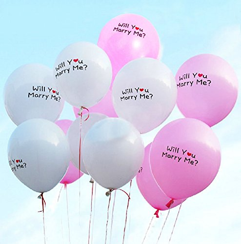 Review Of PANDA SUPERSTORE Propose Balloons Will You Marry Me Balloons 12'' Pink&White 100 Pcs