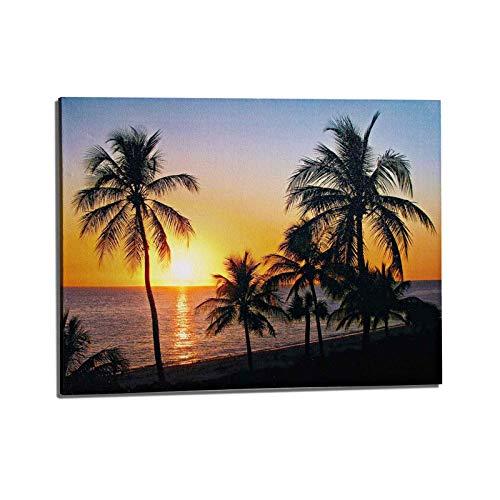 LED Leinwand Bild Sonnuntergang Strand 30x40 cm Beleuchtet Batteriebetrieben Wandbild Leuchtbild Leinwandbild Leucht Strandbild Kunstdruck