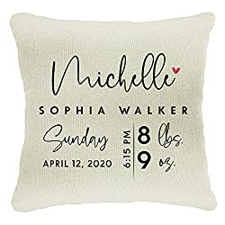 Pillow cover with name, date, and weights, photo