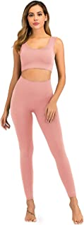 MEIVSO Women's Workout High Waist Athletic Ribbed Slimming Leggings and Sports Bra Set Gym Clothes