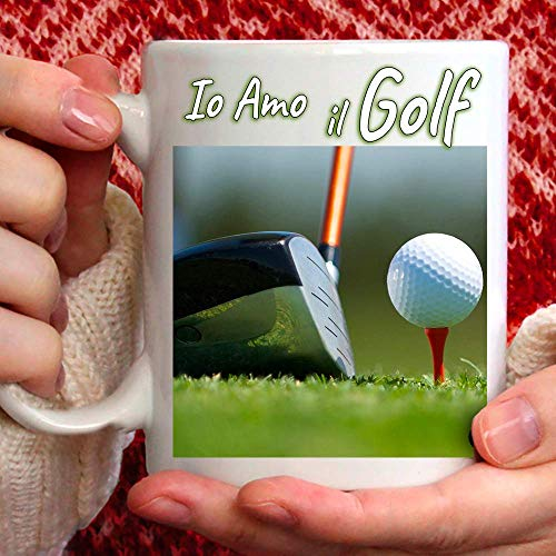 Taza Amo Golf de cerámica – 350 ml para ti o regalo para hombre, amigo, papá, tío, sobrino, abuelo, cumpleaños, aniversario