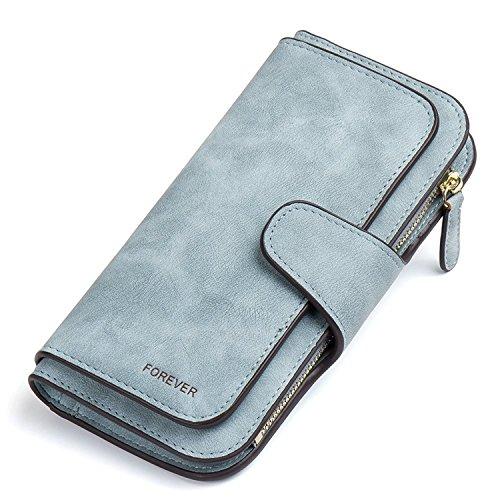 Gr8Life Gr8life Damen Vintage Geldbörse, Lange Portemonnaie mit Große Kapazität, Elegante und Süße Damen Geldbeutel Blau