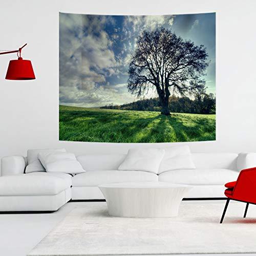XIAOBAOZIGT 3D-printtapijt, grote boom op de weide, hangend tapijt, aan de muur, yogamat, materiaal familieslaapkamerdecoratie van polyester 100×150cm