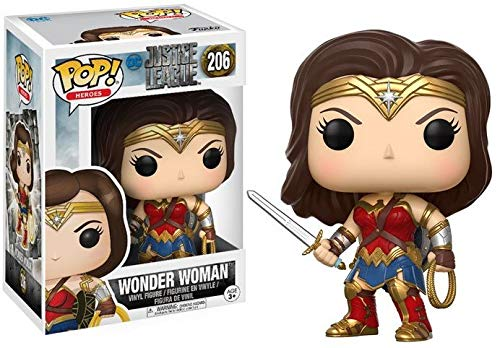 Figura de Wonder Woman, de la serie Liga de la justicia Cada personaje mide 9 cm de altura aproximadamente Material 100% vinilo Viene embalado en una caja ilustrada y con ventanas Colecciona todos los POP! de Liga de la justicia